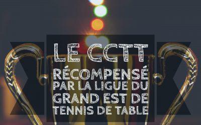 Le CCTT récompensé par la ligue du Grand Est de Tennis de Table
