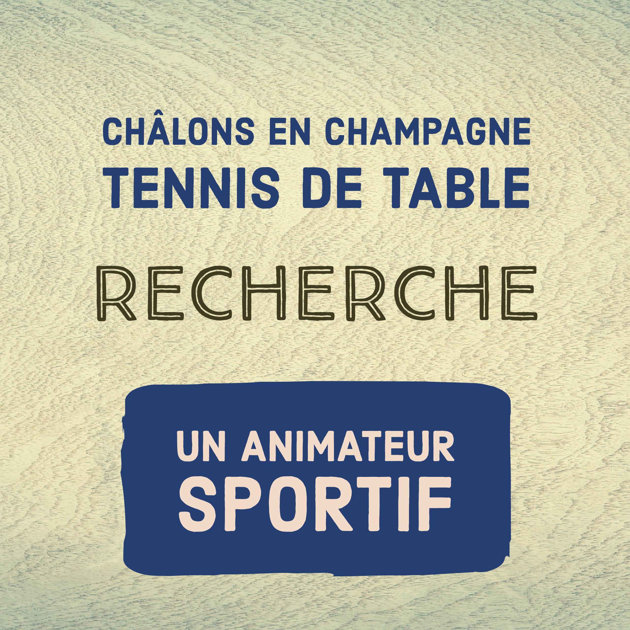 le cctt recherche un animateur sportif ch lons en champagne tennis de table. Black Bedroom Furniture Sets. Home Design Ideas